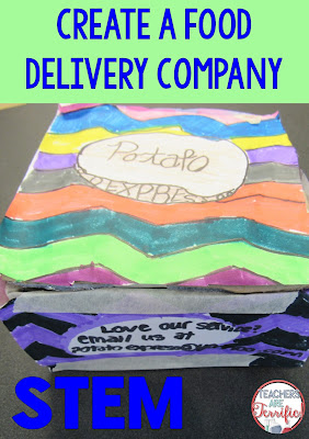 STEM Challenge: It's the Great Baked Potato Delivery Company challenge. Kids create a delivery box that follows specific constraints and an advertising campaign for the company. This also includes cooking and testing the potatoes!