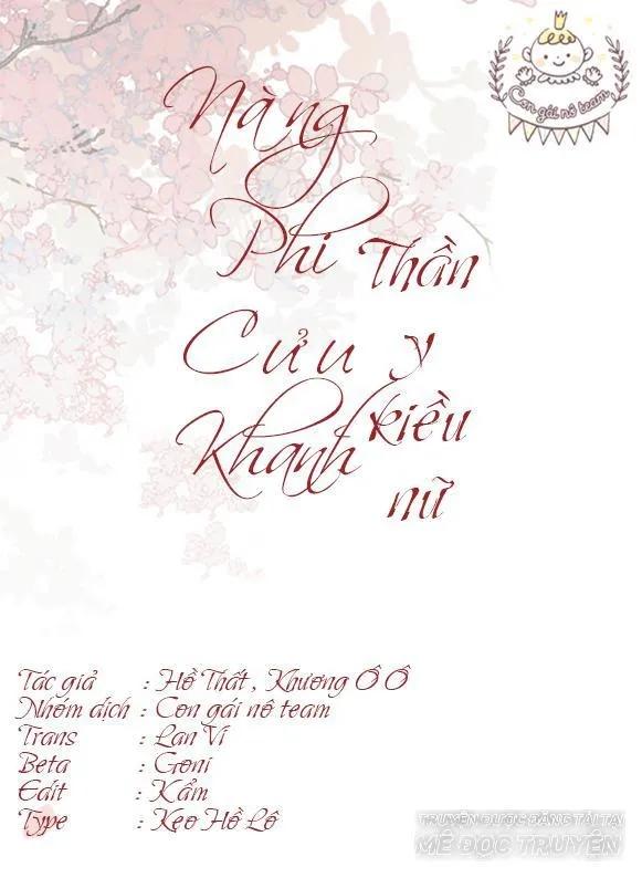 Nàng Phi Cửu Khanh - Thần Y Kiều Nữ chap 27 - Trang 1