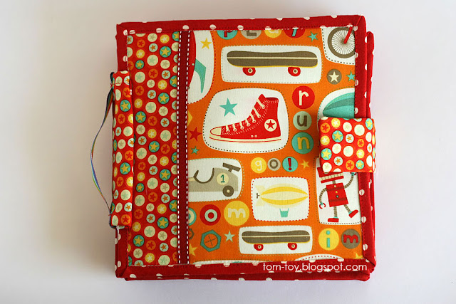 Handmade fabric boys quiet busy book Robot adventures
