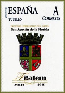 Sello personalizado emitido durante la FILATEM 2010 de Avilés con el escudo de la San Agustín de la Florida