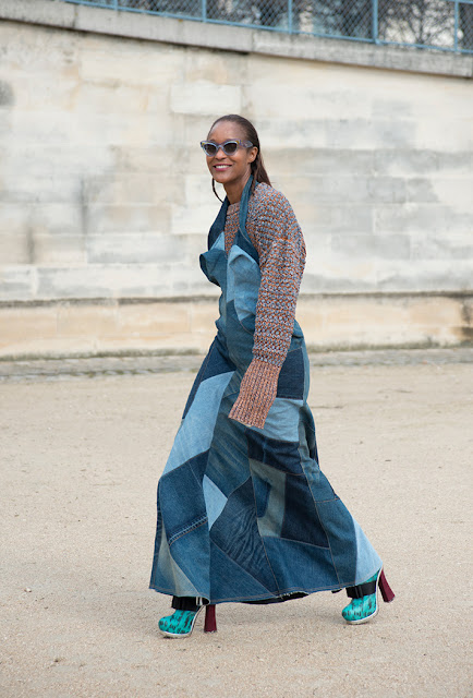 patchwork denim, denim dress, fall 2016, street style, spring 2016, trends, fashion week, NYFW, PFW, LFW, new york fashion week, paris fashion week, london fashion week