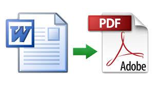 Iconos de Word y PDF unidos por una flecha