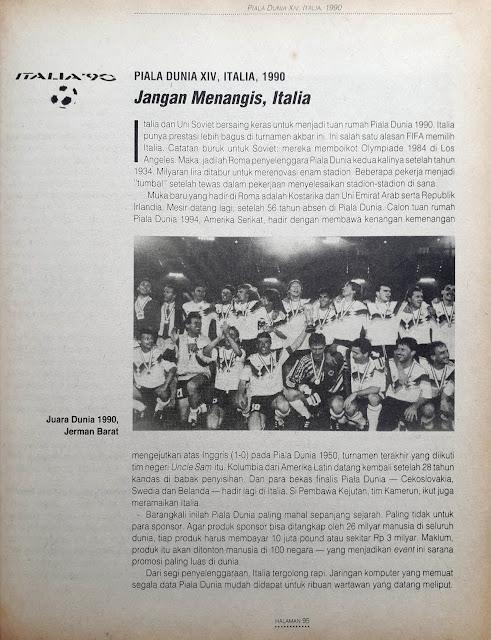 PIALA DUNIA XIV ITALIA 1990 JANGAN MENANGIS ITALIA