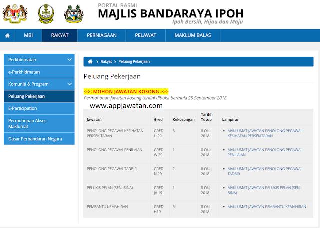 Jawatan Kosong di Majlis Bandaraya Ipoh (MBI)