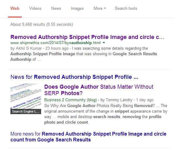 Search result of Removed Authorship Snippet Profile Image and circle count from Google Search Results