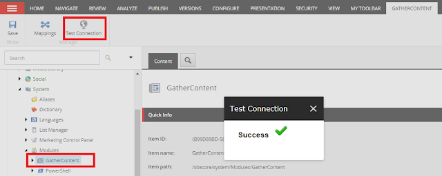 GatherContent Test Connection Success Message