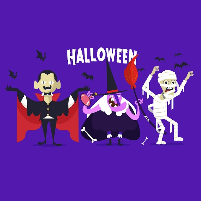Halloween icons elements dracula witch mummy bats sketch Free vector