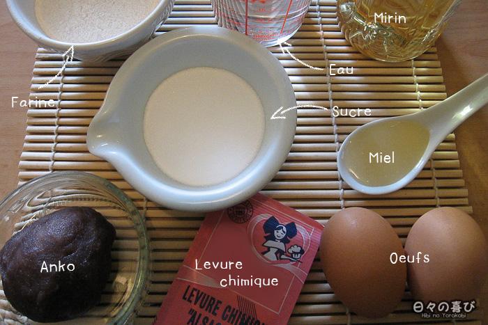 dorayaki, ingrédients recette