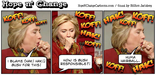 obama, obama jokes, political, humor, cartoon, conservative, hope n' change, hope and change, stilton jarlsberg, hillary, cough, huma, lesbian, bush