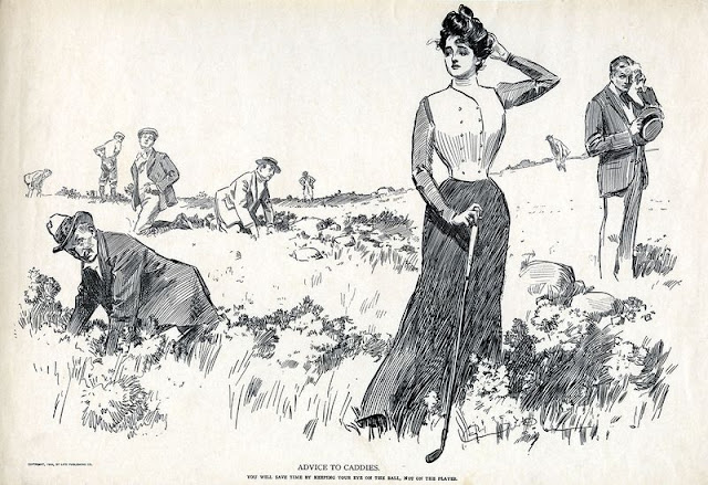 Pen and ink Gibson Girl drawing. Woman golfing who has lost her ball. Advice to Caddies. You will save time by keeping your eye on the ball, not on the player.  I was in the Olympics? marchmatron.com