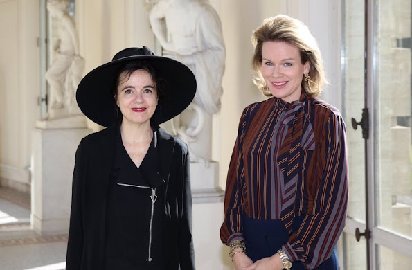 Queen Mathilde of Belgium met with author Amelie Nothomb at the Royal Palace