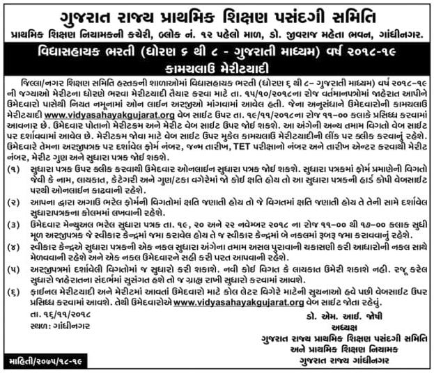 Vidhyasahayak Bharti Merit List