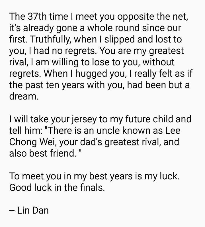 you ingat kita cinta ke, tulis surat ka - Lee Chong Wei