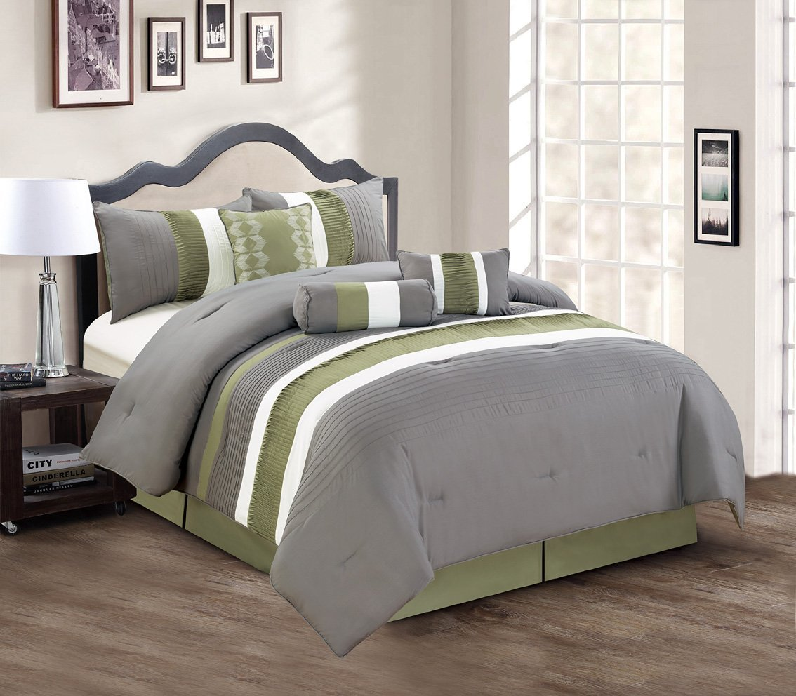 total fab lime green and grey bedding sets - sage green and greygray comforter piece bedding set