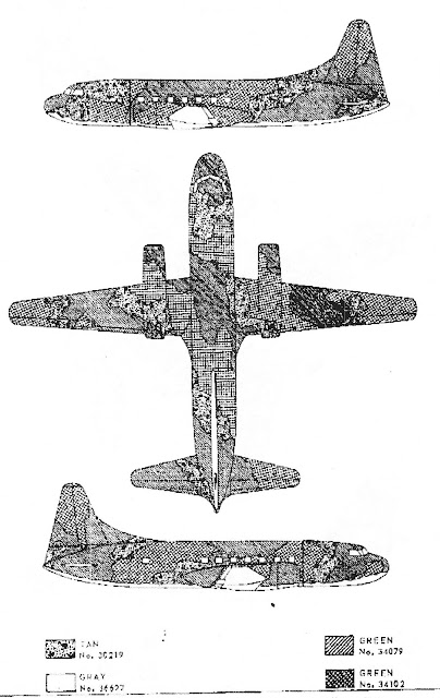 3-view camo diagram for a Convair C-131 / T-29
