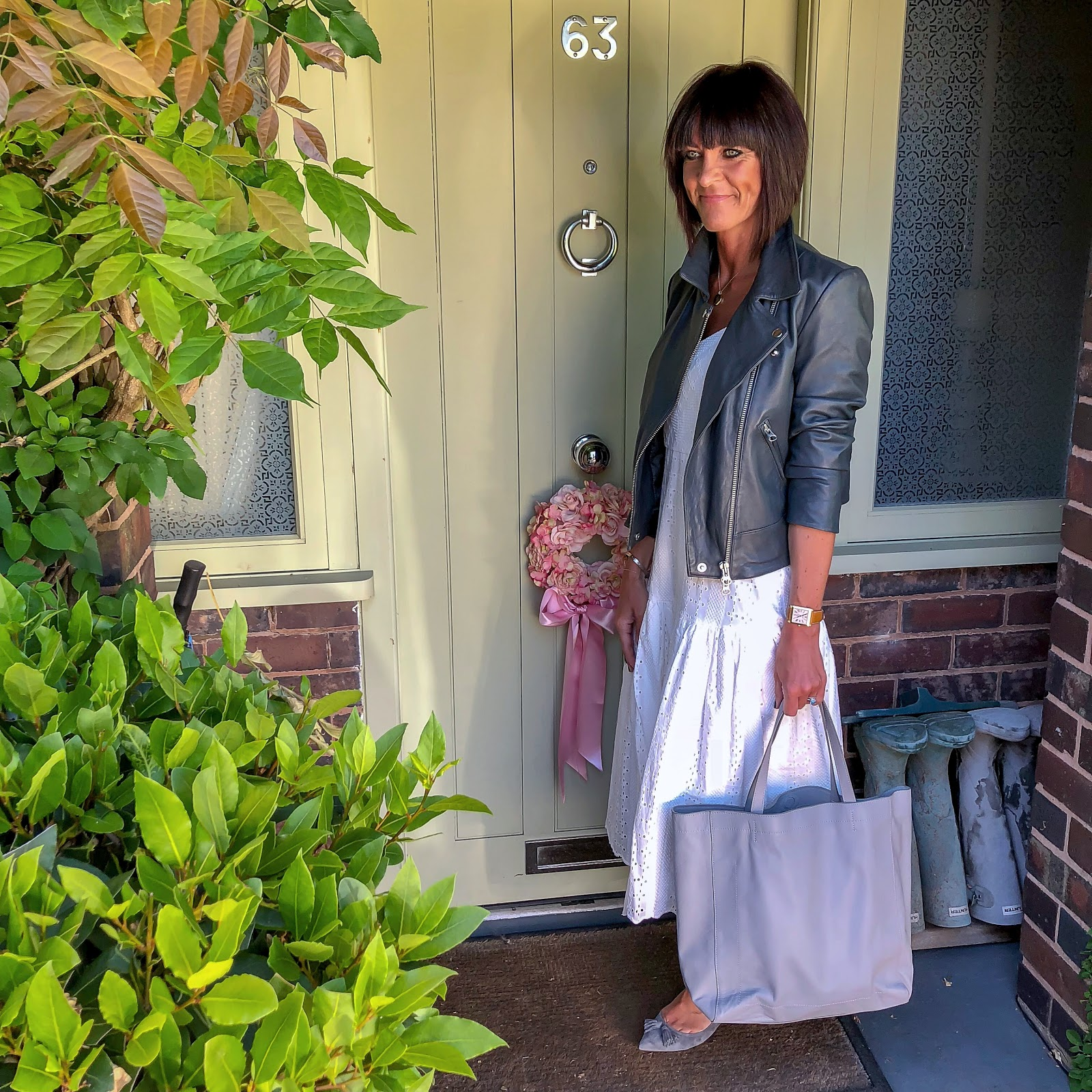 my midlife fashion, hush onyx leather jacket, j crew broderie anglaise midi dress, the white company leather tote bag, j crew suede tassel flat shoes, cabochon and co diana ring