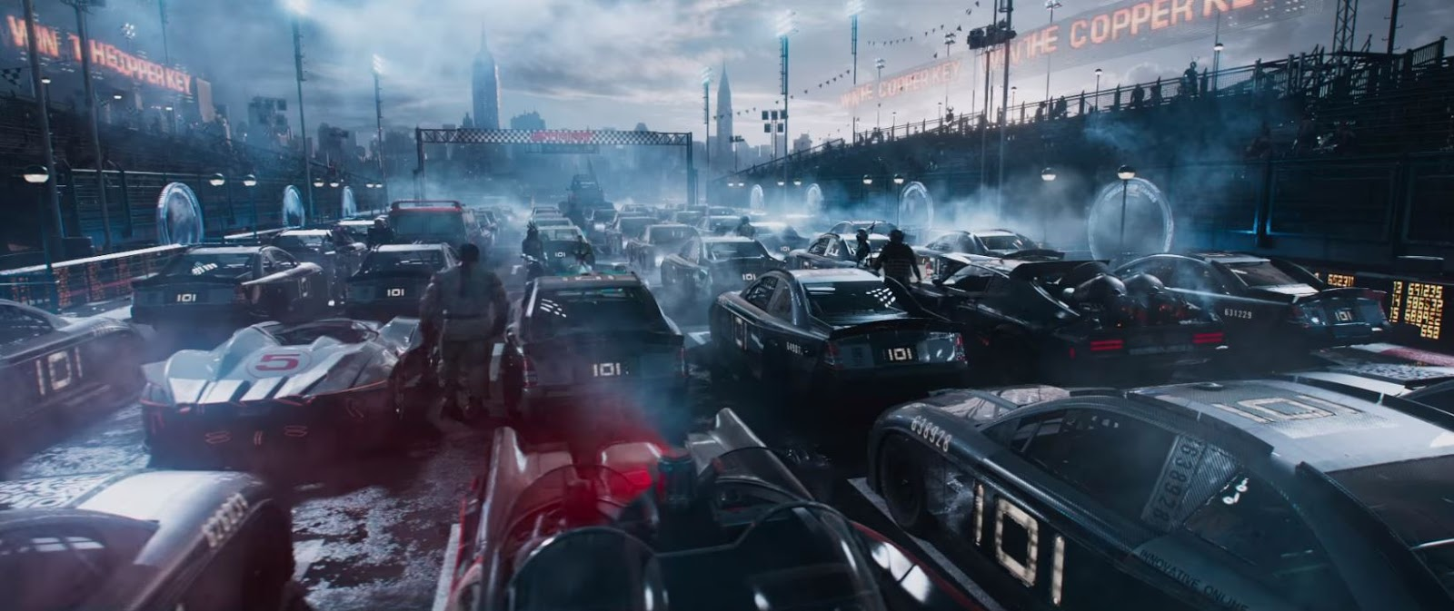 New Scene From Ready Player One Car Race With Mad Maxs Falcon The Adam West Era Batmobile Bigfoot And A Team Van
