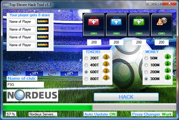 get your free top eleven hacking tool and enjoy the game