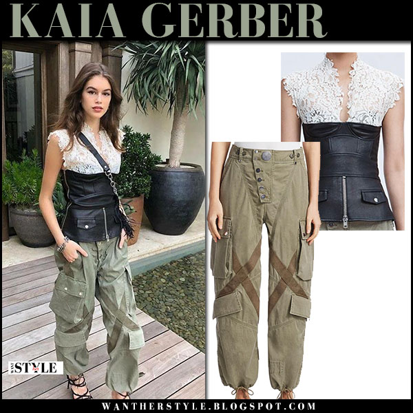 Kaia Gerber in army green trousers and leather and lace top alexander wang model fashion march 11
