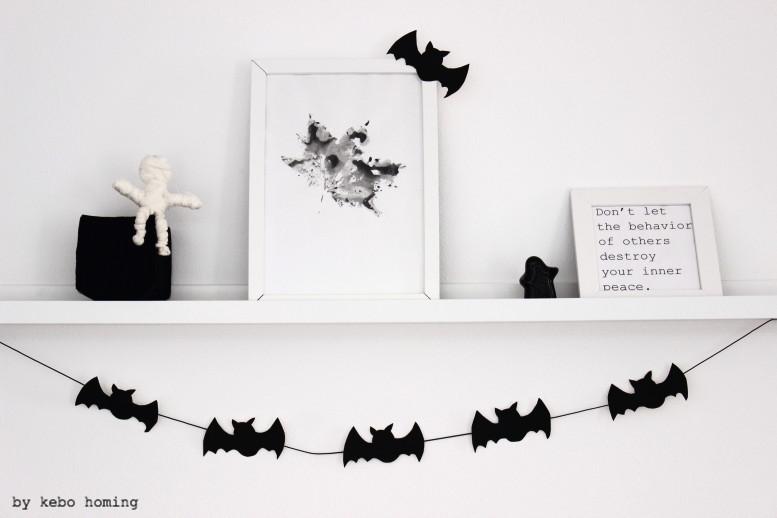 Basteln mit Kindern DIY für Halloween, Fledermäuse Girlande, Mumien basteln, #meinshelfie im November bei kebo homing, dem Südtiroler Food- und Lifestyleblog