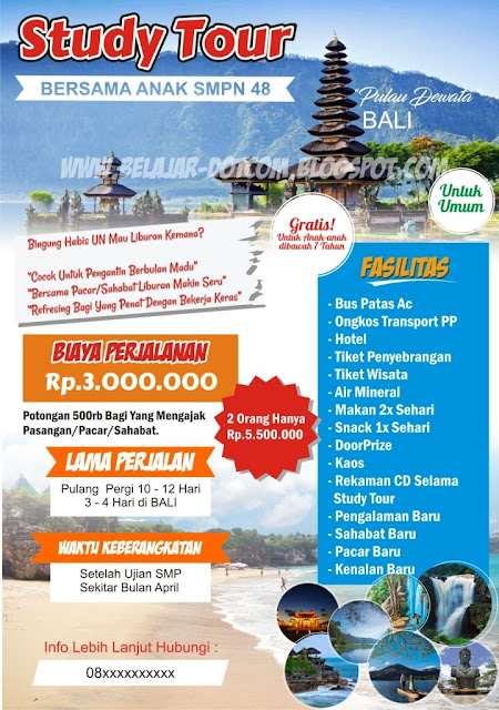 Contoh Brosur Paket Wisata dan Study Tour ke Bali Download Templat Brosurnya Gratis!, brosur keren, brosur wisata ke bali