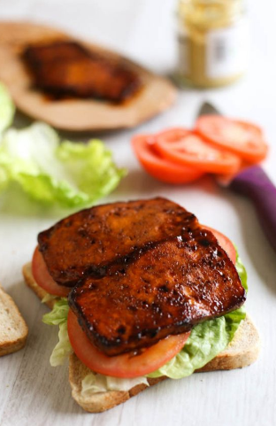 TRY THIS—TOFU BACON, LETTUCE, AND TOMATO SANDWICH WITH HOMEMADE SRIRACHA
