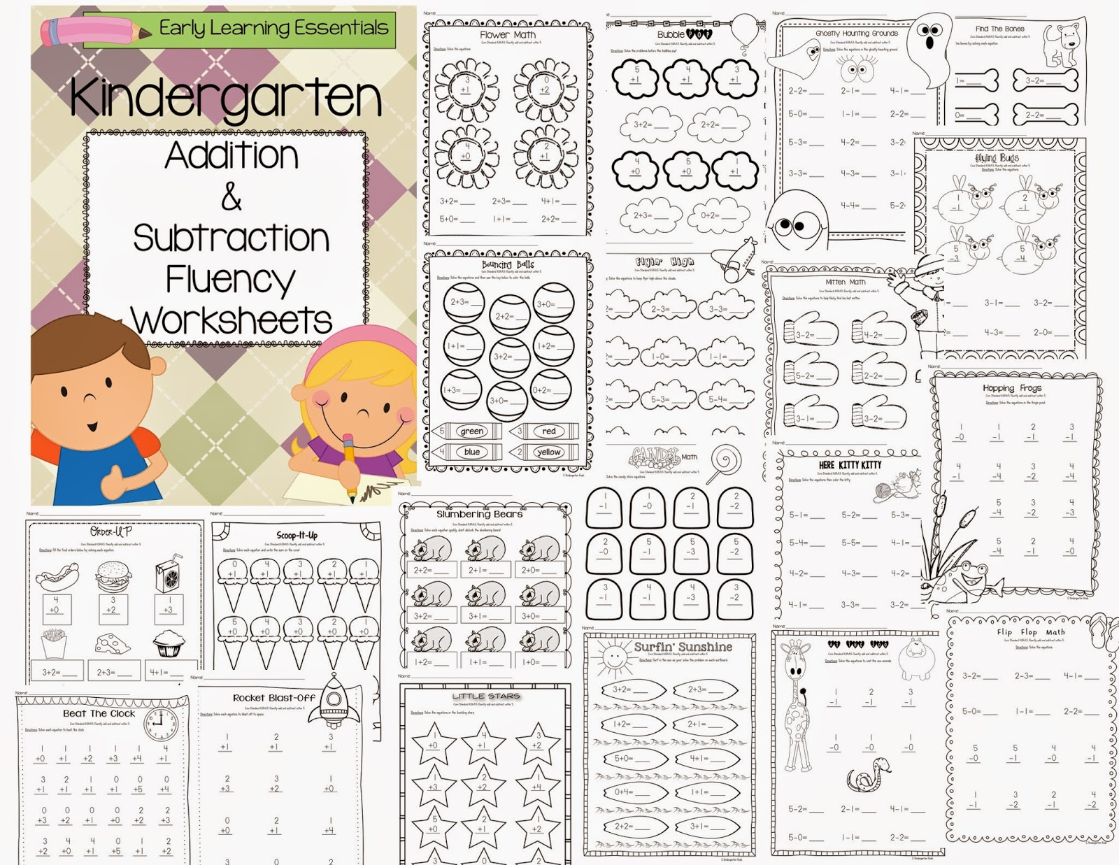 Kindergarten Kiosk Addition And Subtraction Kindergarten Worksheets