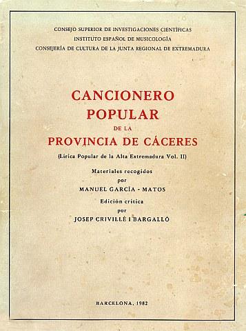 CANCIONERO POPULAR DE LA PROVINCIA DE CÁCERES