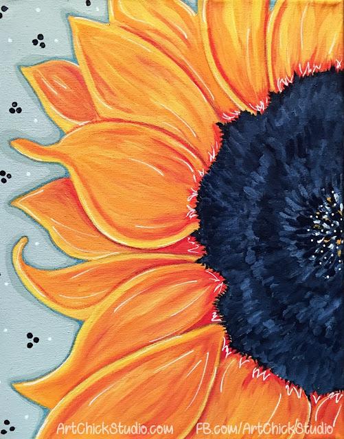 Sunny Flower Mixed Media Painting Art Chick Studio