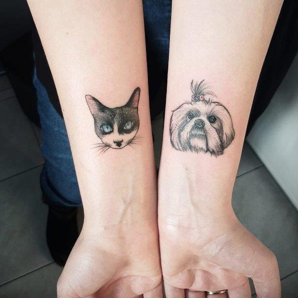Maltese and Cat Tattoos