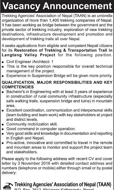 Civil Engineer Architect Job Vacancy @ Trekking Agencies' Association
