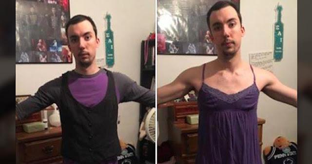 Se probó la ropa de su novia para denunciar algo indignante