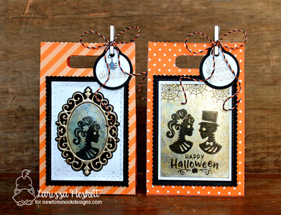 Halloween Treat bags by Larissa Heskett | Creepy Cameos Halloween Stamp Set and Cameo Frame Die Set by Newton's Nook Designs #newtonsnook #handmade