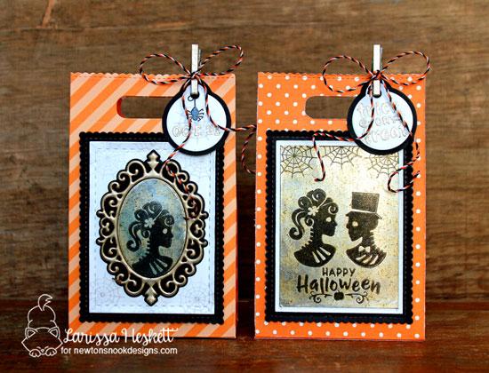 Halloween Treat bags by Larissa Heskett   Creepy Cameos Halloween Stamp Set and Cameo Frame Die Set by Newton's Nook Designs #newtonsnook #handmade