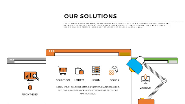 Our Solutions Presentation with WEB UI Vector Elements