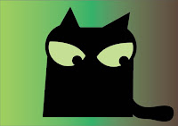 illustration of black cat looking down angrily