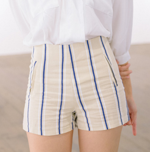Striped Two Pocket Shorts