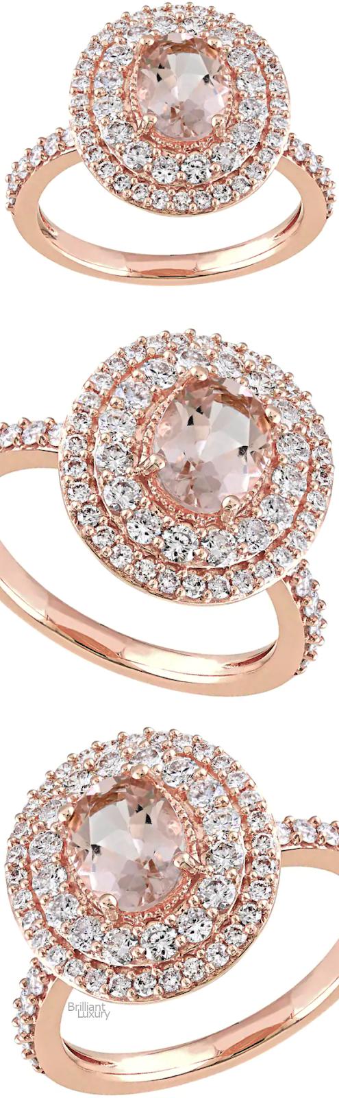 Brilliant Luxury♦Stella Grace 14k Rose Gold Morganite & 9-10 Carat T.W. Diamond Oval Halo Engagement Ring
