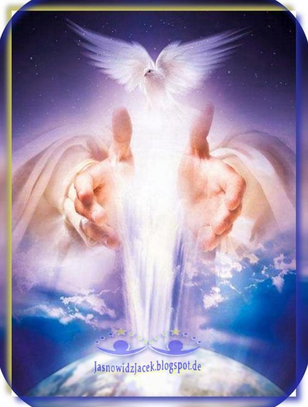 Gołąbek biały Światło Dłonie nad Planetą Ziemią