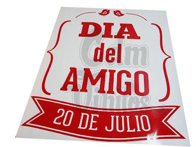 Vinilo Día del Amigo, vidrieras, vinilos decorativos para hogar y objetos, calcos, stickers, ploteo