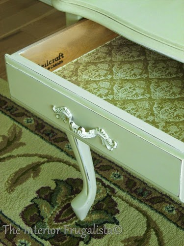 French Provincial Side Table with Damask paper lined drawer.