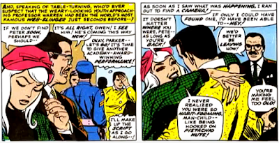 Amazing Spider-Man #53, john romita, gwen stacy is worried about peter parker but then he shows up and, delighted, she gives him a big hug as professor warren watches on