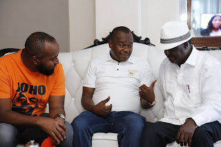 Ali Joho,  Badi Twalib and Raila Odinga at the Mombasa governor offices. PHOTO | Courtesy