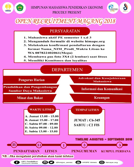 OPEN RECRUITMENT MAGANG HIMA PE 2018