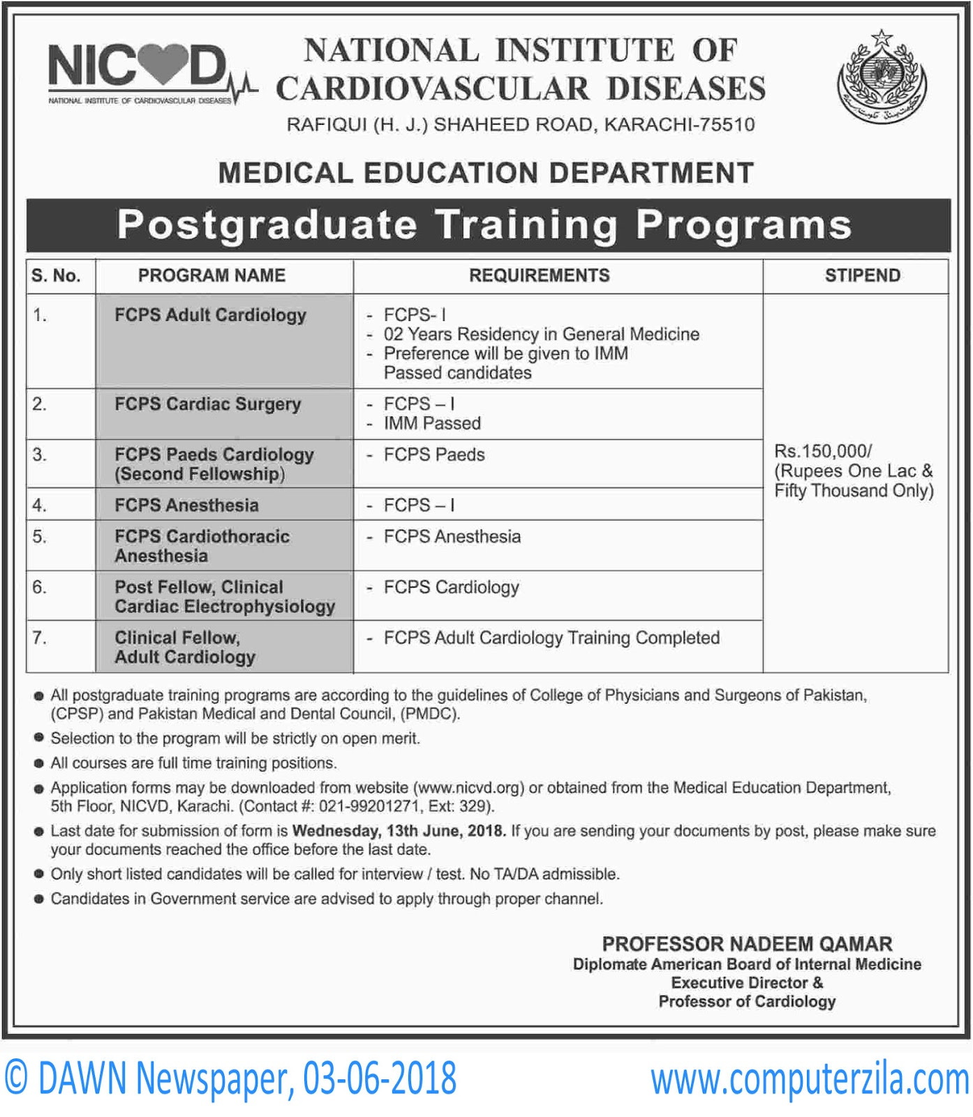 National Institute of Cardiovascular Diseases Admissions Fall 2018
