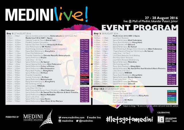 Medini Live! 2016 program schedule