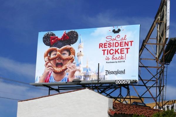 Disneyland SoCal Resident pretzel billboard
