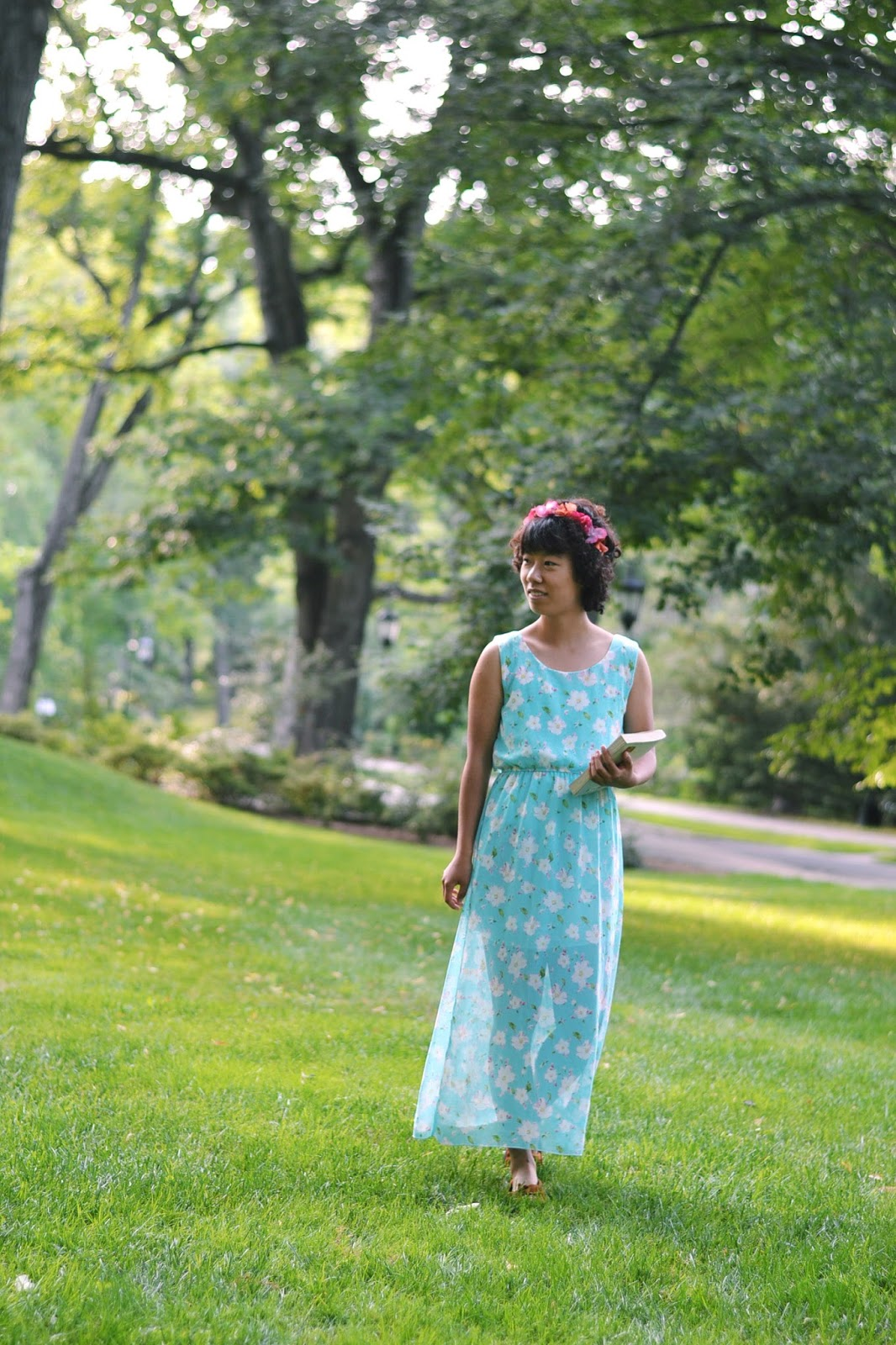 flower crown, floral maxi