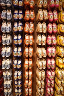 Racks of colorful wooden shoes, Zaanse Schans, Zaandam, The Netherlands