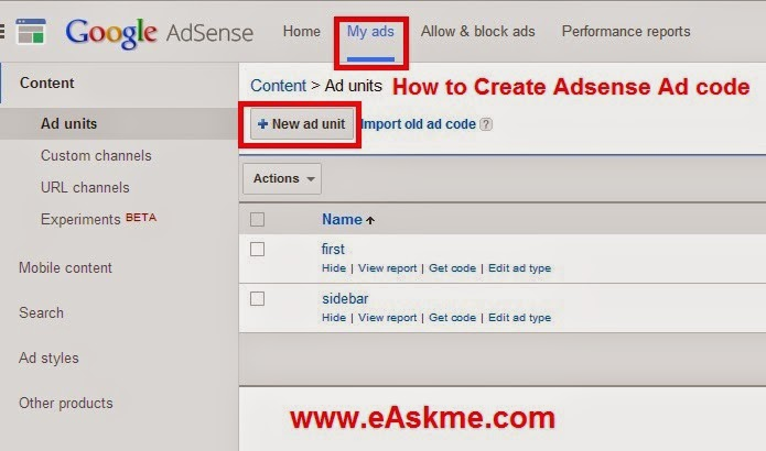 How to Create Adsense Ad code : eAskme